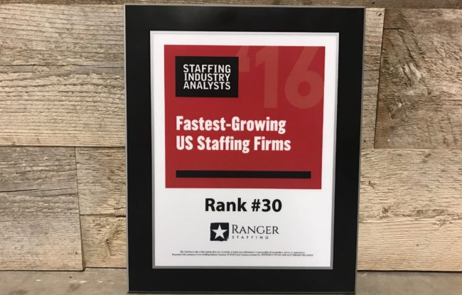 RANGER STAFFING GROUP LISTED AS ONE OF THE FASTEST GROWING STAFFING FIRMS IN THE U.S.
